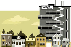 Old neighborhood. New condo building with For Sale sign towering over an old low density neighborhood, EPS 8 vector illustration stock illustration