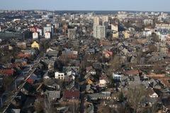 Old neighborhood Snipiskes aerial panorama, Vilnius, Lithuania royalty free stock photo