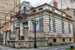 Old neoclassical building in Florina, a popular winter destination in northern Greece. On an overcast day royalty free stock images