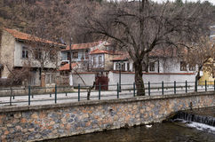 Old neoclassical buildings by the river in Florina, Greece Stock Images