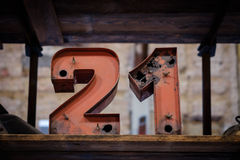 21 - old neon light numbers - vintage typography. Twenty one Royalty Free Stock Photo