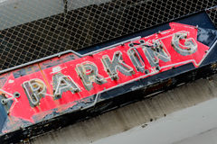 Old neon parking sign Stock Photos