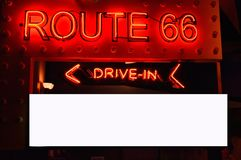 Old neon red sign of Route 66. Royalty Free Stock Photos