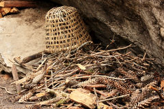 Old Nepalese basket lies on a pine cones near the rock. Nepal Stock Photos
