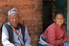 Old Nepalese Couple Stock Photo