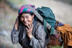 Old nepalese peasant woman Stock Photos