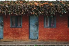 Old Nepalese simple red house Stock Photo