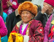 Old nepalese woman portrait at traditional celebration ceremony in Nepal
