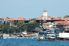 Old Nesebar island - famous Bulgarian resort. Old Nesebar island - famous resort and Bulgarian unesco heritage site stock photo
