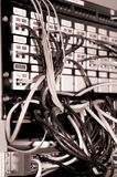 Old network rack. B&W Sepia Royalty Free Stock Images