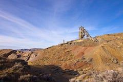 Old Nevada Quicksilver Mine. Landscape and Nevada Quicksilver Mine under blur sky Stock Photography