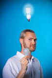 Old and new. Man with a beard with 2 light bulbs royalty free stock photos