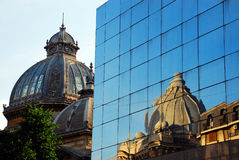 Old and new. Buildings in the center of Bucharest, Romania Royalty Free Stock Photography