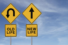 Old and New. Conceptual road sign about change or choices Royalty Free Stock Photo