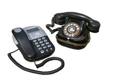 Old and new. Telephones side by side. Advances in technology. Modern style, old elegance Stock Image