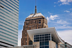 Old and new. This is a picture of an old building and new building in downtown Oklahoma city Royalty Free Stock Image
