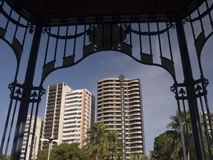Old and new. Modern architecture framed with old details in Belem - Brazil Stock Photo