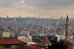 Old and new ankara Turkey as viewed from the citadel stock image