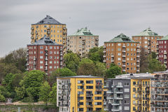 Old and new apartment buildings in Stockholm. Royalty Free Stock Photos