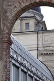 Old and new – architecture detail. Detail of the Bavarian State Chancellary in Munich (Bayerische Staatskanzlei in München stock photo