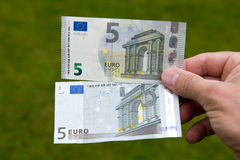 Old and new banknote Stock Photos