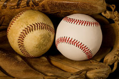 Old and New Baseballs Royalty Free Stock Photos