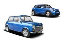 Old and new blue mini cooper Stock Image