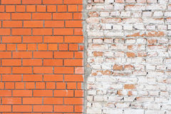 Old and new brick walls texture, orange red and white. Old and new together brick walls texture, orange red and white Stock Photography