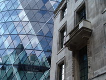 Old and new buildings. View of old and new buildings in City of London stock images