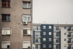 Old And New Buildings. Abstract composition of buildings, old and new exteriors Stock Photos