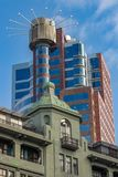 Old and new buildings juxapositioned royalty free stock images