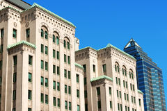 Old and new buildings in Montreal downtown Royalty Free Stock Images