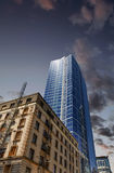 Old and New Buildings Under Dusky Sky. In Seattle Stock Photography