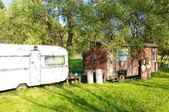 Old and new camping houses Royalty Free Stock Photo