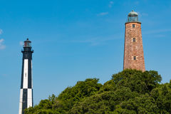 Old and New Cape Henry Lighthouses in Virginia Beach royalty free stock image