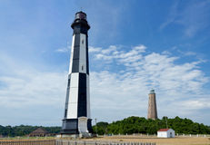Old and New Cape Henry Lighthouses in Virginia Beach Stock Photo