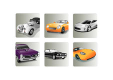 Old and new cars icon set Stock Photos
