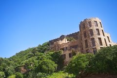 The old and new Castles of Noetzie. The Castles at Noetzie beach and reservation area in the Eastern Cape, South Africa. A newer castle is in the foreground with Stock Images