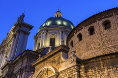 Old and new cathedrals in Brescia, Italy Stock Photo
