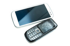 Old and new cellphones Royalty Free Stock Photography