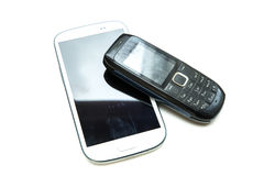 Old and new cellphones Stock Image