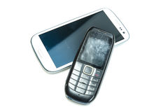 Old and new cellphones Stock Photography