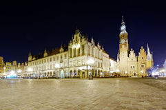 Old and new city hall in wroclaw Stock Image