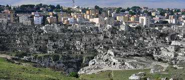 Old and new city view of Matera royalty free stock images