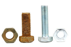 Old and new construction fasteners Royalty Free Stock Image
