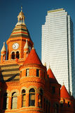 Old and new in Dallas. The Old Red Courthouse contrasts with the 74 Story Bank of America Building, Dallas Stock Image