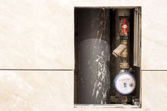 Old or new dirty water counter in apartment durind renovation Stock Image
