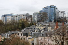 Old and new districts of Luxembourg city. Contrast between old and new districts of Luxembourg city Royalty Free Stock Photos