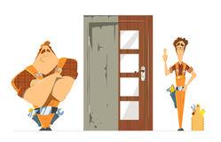 Old new door before and after concept. Two man locksmith. Royalty Free Stock Photos