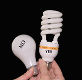 Old and new eco-friendly lightbulbs Stock Photography